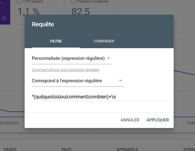 Screenshot d'un exemple d'utlisation d'une regex dans la google search consol
